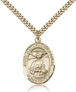 IceCarats Designer Jewelry Gold Filled St. Catherine Laboure Pendant 1 X 3/4 Inch: IceCarats: Jewelry