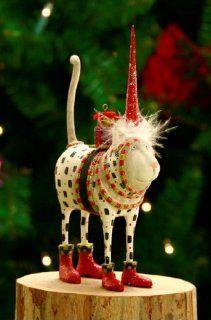 Patience Brewster Krinkles Pat Santa Hat Cat Christmas Ornament   Decorative Hanging Ornaments