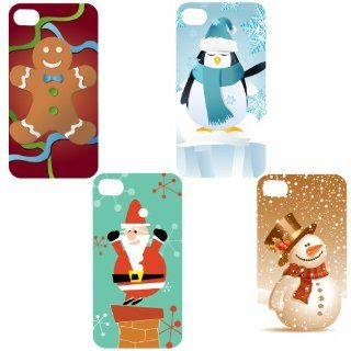 Set of 4 Christmas Themed iPhone 4 or iPhone 4s   4 Different Designs   Gingerbread Man, Penguin, Santa Claus, and Snowman   Clear Protective iPhone 4/iPhone 4S Hard Case: Cell Phones & Accessories