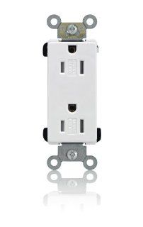 Leviton TDR15 W 15 Amp, 125 Volt, Decora Plus Duplex Receptacle, Straight Blade, Tamper Resistant, Commercial Grade, Self Grounding, White   Electrical Outlets