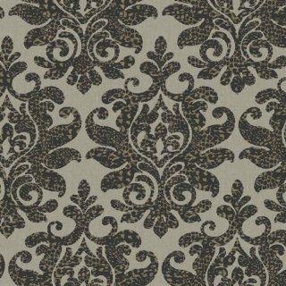 Black Leopard Damask Wallpaper