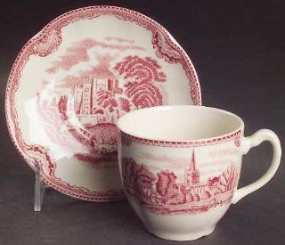 Johnson Brothers Old Britain Castles Pink (England 1883) Flat Cup & Saucer Set, Fine China Dinnerware: Drinkware Cups With Saucers: Kitchen & Dining