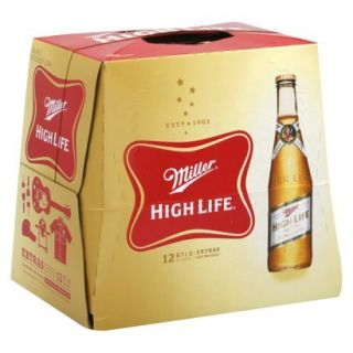 Miller High Life Beer Bottles 12 oz, 12 pk