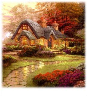 Thomas Kinkade 3 in 1 Puzzle   Almost Heaven, Moonlight Cottage, Make a Wish Cottage Toys & Games