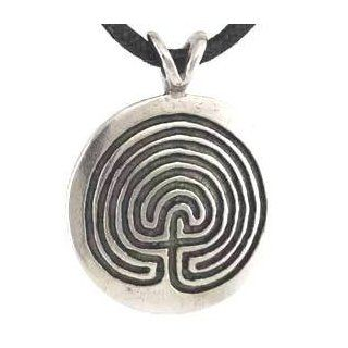 Protection Round Disk Maze Protection Against Evil Spirits Amulet Charm Necklace Pendant Wicca Wiccan Pagan Metaphysical Spiritual Religious Women's Men's Jewelry: Jewelry