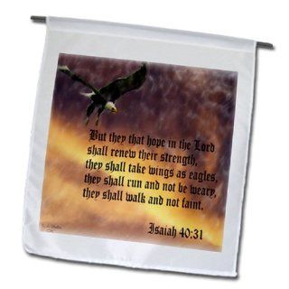 3dRose fl_27419_1 Isaiah 40 31 Bible Verse with Eagle Against a Troubled Sky Garden Flag, 12 by 18 Inch  Outdoor Flags  Patio, Lawn & Garden