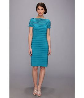 Adrianna Papell Partial Tuck Dress w/ Short Sleeve Womens Dress (Blue)