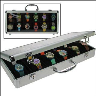 """SAFE ALUMINIUM ALU Collector 's WATCHES BOX Brillant """" XXL """"   IN NOBLE BLACK VELOUR   WITH 12 BOXES inside & 12 x ADJUSTABLE SOFT PILLOWS WATCHESHOLDERS   TRANSPARENT CLEAR WINDOW   LOCKABLE   FOR ALL KIND OF WATCHES   ALSO FOR THE NEW L"""