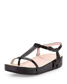 Amor Patent Thong Sandal, Black   Taryn Rose