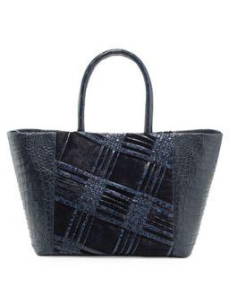 Small Woven Crocodile & Calf Hair Tote Bag, Navy   Nancy Gonzalez