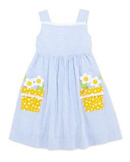 Girls Flower Pot Seersucker Dress, 4 6X   Florence Eiseman