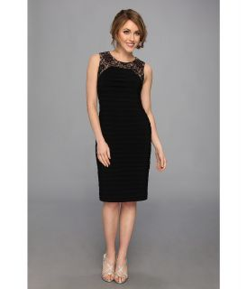 Adrianna Papell Sleeveless Lace Framed Dress Womens Dress (Black)