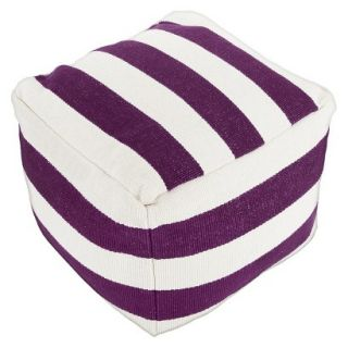 Pouf: Threshold Pouf   Purple Stripe