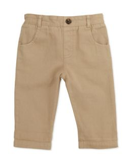 Pull On Chino Pants, Khaki, 6 24 Months   Marie Chantal