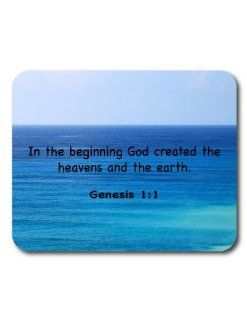 Bible Verse Mouse Pad   Genesis 11   In the beginning God created the heavens and the earth.   Religious   Religion   Faith Rectangular 1/4 Inch Extra Thick Mouse Pad