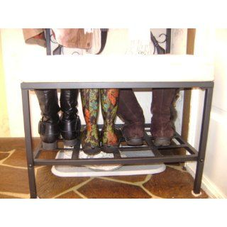 SEI Black Metal Entryway Storage Bench with Coat Rack   Entryway Hall Tree With Bench