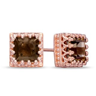 0mm Princess Cut Smoky Quartz Crown Earrings in Sterling Silver with