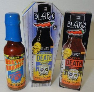 Blair's After Death, Sudden Death and Beyond Death Gift Pack : Hot Sauces : Grocery & Gourmet Food