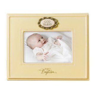 Grasslands Road New Beginnings Baptism Frame, Cream Ceramic GOD BLESS, 7 1/2 by 9 1/4 Inch   Single Frames