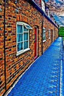 Street Beside Brick Houses 8' x 12' CP Backdrop Computer Printed Scenic Background  Photo Studio Backgrounds  Camera & Photo