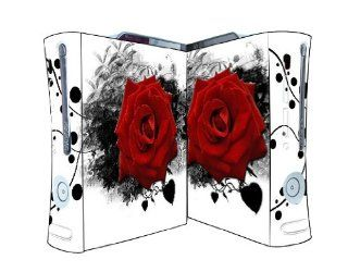 Bundle Monster Vinyl Skins Accessory For Xbox 360 Game Console   Cover Faceplate Protector Sticker Art Decal   Red Rose Video Games