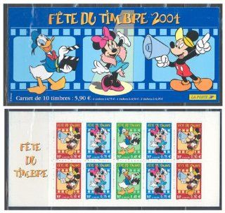 "Disney Stamp France   France 2004 ""Fete Du Timbre"" booklet containing ten stamps"