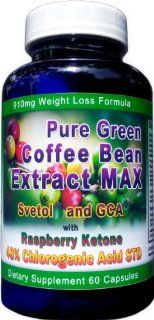 910mg Pure Green Coffee Bean Extract MAX ~ Svetol ~ GCA ~Raspberry Ketones ~ Contains up to 48% Chlorogenic Acid ~ Strongest Diet Pill: Health & Personal Care