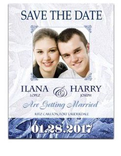 200 Save the Date Cards   Snowflake Frost Amor : Greeting Cards : Office Products