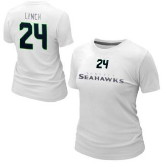 Nike Marshawn Lynch Seattle Seahawks Ladies Name and Number T Shirt   White