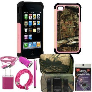 Mossy Oak Rugged Pink and Black Break up infinity Cover for iPhone 4s, 4. Comes with USB Power Kit, 3ft cable, 10ft extra long cable, usb car charger, house charger, stylus pen, radiation shield and horizontal camo case.: Cell Phones & Accessories