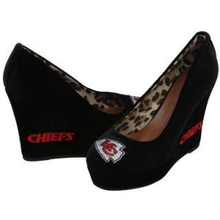 Cuce Kansas City Chiefs Ladies Groupie High Heel Wedges   Black