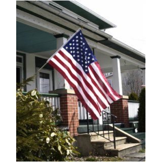 Valley Forge Flag 3 Feet by 5 Feet Polycotton US Flag Kit with 6 Foot Steel Pole and Bracket : Outdoor Flags : Patio, Lawn & Garden