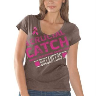 Tampa Bay Buccaneers Ladies Breast Cancer Awareness Crucial Catch Fanfare T Shirt   Pewter