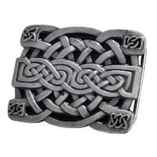 Buckle Rage Silver Irish Celtic Knot Mesh Design Belt Buckle One Size Clothing