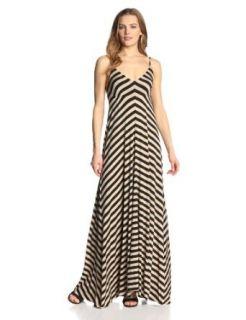 eight sixty Women's Stripe Maxi Dress, Mocha/Black, Large at  Women�s Clothing store