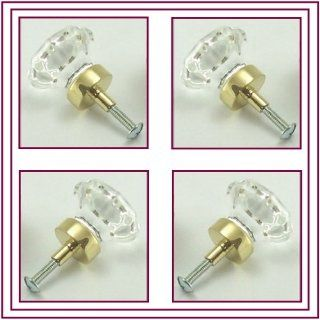 LOT OF FORTY EIGHT (48) FACTORY DIRECT. The finest 24% Lead Crystal Old Town Knob Pulls, Contractor's pack of BiFold/Cabinet/Wardrobe Knob Pulls  1 3/8 inch at the widest point, little larger than standard cabinet knobs and lot nicer (Polished Brass)