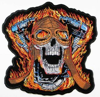Big Skulls Biker Patches 20x19.5 Cm Motorcycle Biker Patch Sew/iron on Patch to Cloth, Jacket, Jean, Cap, T shirt and Etc.: