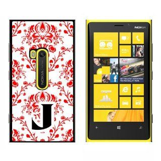 Letter J Initial Damask Elegant Red Black White   Snap On Hard Protective Case for Nokia Lumia 920: Cell Phones & Accessories