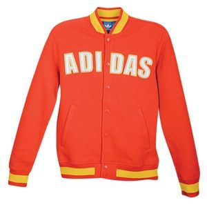 adidas Originals Court Varsity Fleece Jacket   Mens   Casual   Clothing   Vivid Red/Sunshine