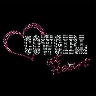 Cowgirl At Heart 2 in Hot Pink and Crystal $3.99 Rhinestone Iron on Design By Jeannies Rhinestone World