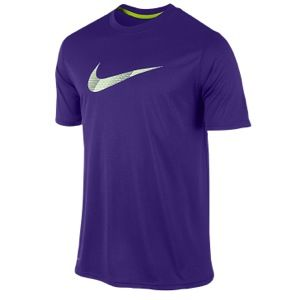 Nike Legend S/S Chainmaille Swoosh   Mens   Training   Clothing   Electro Purple/Volt