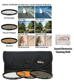 72MM 3 Piece Ultra Slim Pro Glass Filter Set (UV Ultraviolet, Circular Polarizing & Warming) with Pouch For the Canon EOS Rebel T4i 650D T3i T2i 550D For Use With The Following Lenses Canon EOS 60D Specific For The canon EF S 28 135mm, EF S 15 85mm Can