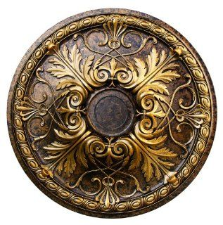 """Hand Painted Decorative Ceiling Medallion 26"""", Finished in Bronze and Gold"""