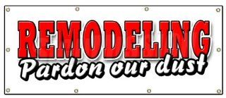 """36""""x96"""" REMODELING PARDON OUR DUST BANNER SIGN we're open fix up new improved Patio, Lawn & Garden"""