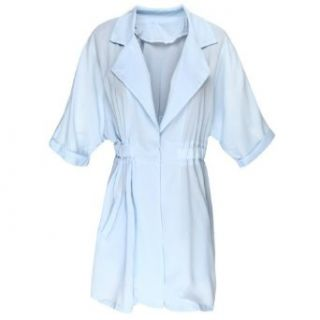 1veMoon Women's Turn down Collar Long sleeve Solid Color Slimming Trench Coat, Blue, Regular Sizing 8 at  Women�s Clothing store