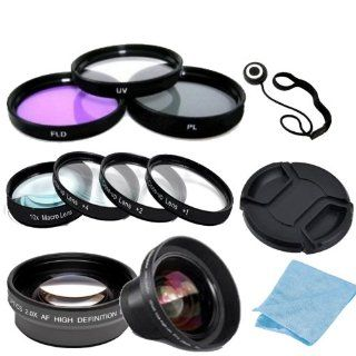 Digital Accessory Kit For Nikon D70, D70s, D80 Digital SLR Cameras Includes  Wide Angle Lens, Telephoto Lens, Lens Cap, 7 Piece Filter Set(UV CPL FLD + 4 Macro Filters   +1, +2, +4, +10), Lens Cap Keeper and a Cleaning Cloth. (Works with Any Of The Follow