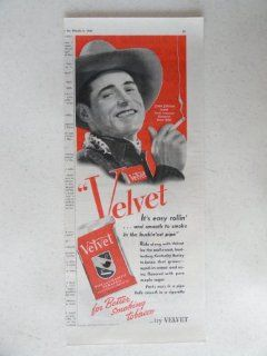 Velvet pipe and cigarette tobacco. Vintage 40's print ad. color Illustration (John Jordan former North American Champion Bronc Rider) Original vintage 1940 Collier's Magazine Print Art.