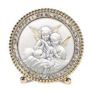 Guardian Angels Waching Over Baby Gold Standing Frames. The Height of Elegance, These Exquisite Frames Set the Standard for Gift Giving! Sterling Silver Images From Salerni of Italy Are Framed in Beautiful Frames That Are Embellished with Hand set Swarovsk