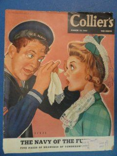 Collier's Magazine March 13, 1943 (Cover Only) cover art by Frank Bomar  boy getting something out of girls eye : Prints : Everything Else
