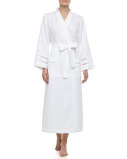 Spa Oasis Crochet Trim Long Robe, White   Oscar de la Renta